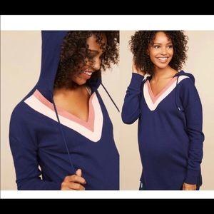 Motherhood Maternity V Neck Hooded Tunic Large